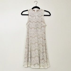 High Neck Nude and White Lace A-Line Dress